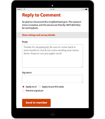 Replying to customer comments mockup